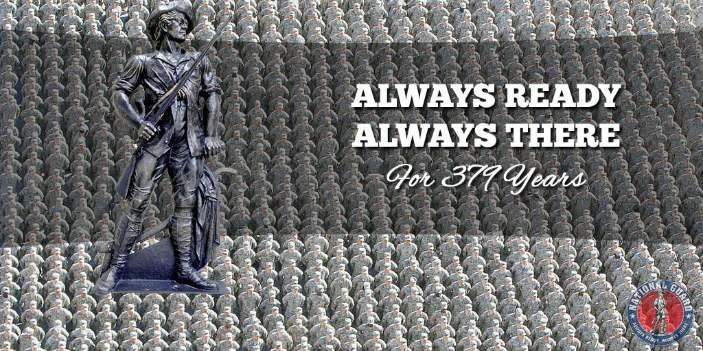 Today, our National Guard celebrates 379 years of being Always Ready, Always There. RT to celebrate! #Guard379 https://t.co/IIH4BndExt
