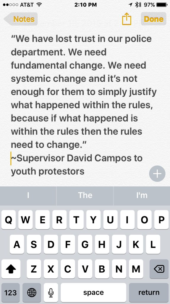On SFPD recent officer involved shooting. Well said @DavidCamposSF https://t.co/ZiVwCJyu0A