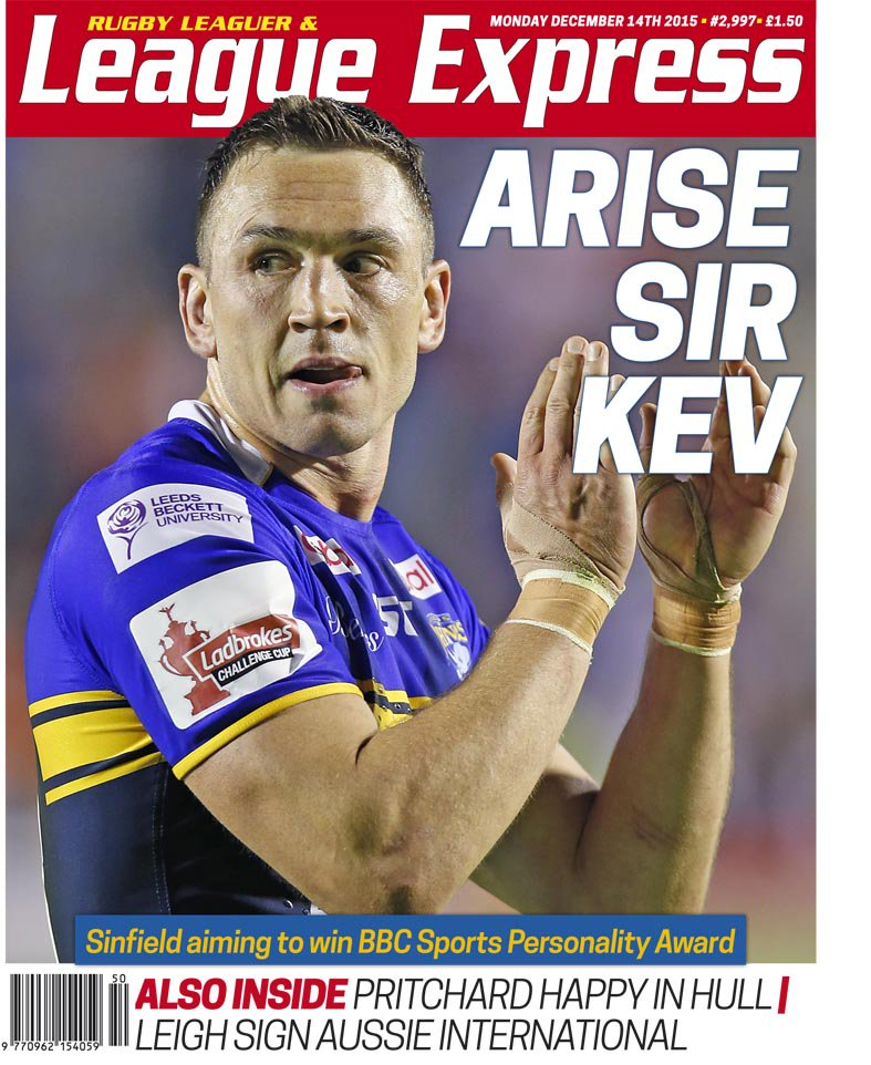Want to see the front page of the new edition of @leagueexpress. Here it is. And don't forget to vote for Sir Kev. https://t.co/K92cbQv8Qe
