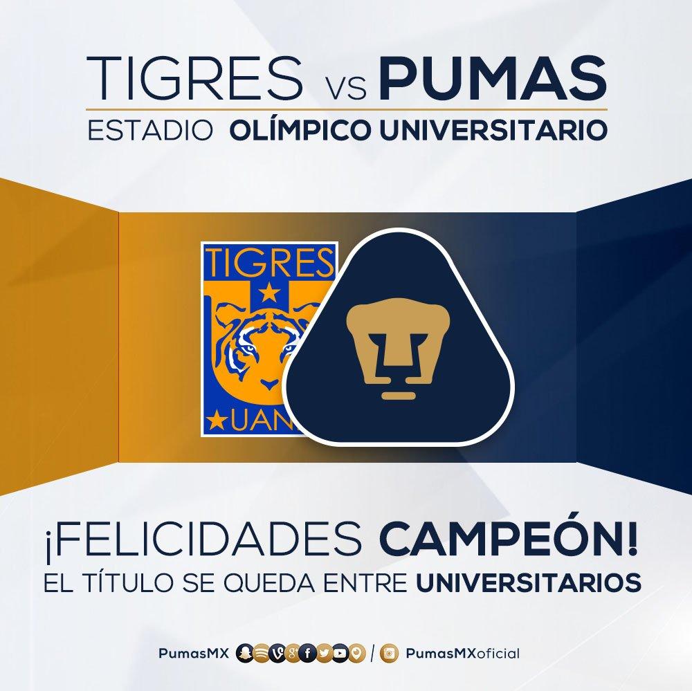 ¡Felicidades @TigresOficial! #PorTiUniversidad #SoyDePumas https://t.co/QneA3mWWGP