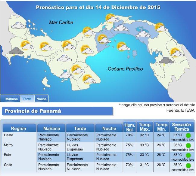 Pron stico del tiempo para panam hoy 14 de diciembre for Pronostico del tiempo accuweather