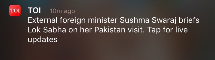 The brilliant sense of humour of @TOIIndiaNews-   External Foreign Minister Sushma Swaraj.. https://t.co/5OT2IZjgQD