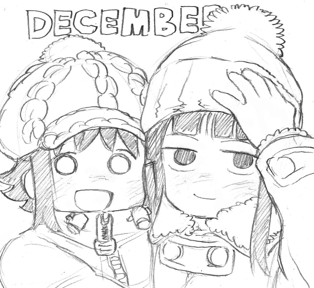 これは「バーナード嬢曰く。」という漫画のキャラクターです。左が町田さわ子、右が神林しおり。二人は友達で、今は12月です