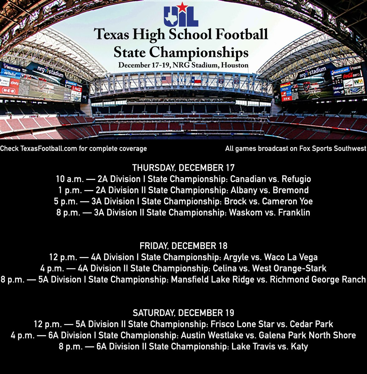 Three days. Ten champions. One truly Texan weekend.  Prepare your life accordingly.  #txhsfb #UILState https://t.co/P14d76VNMv