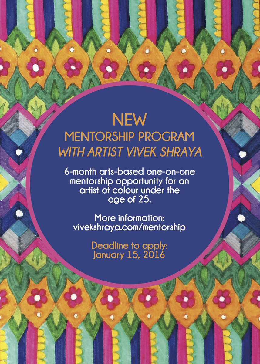 I am offering a new mentorship opportunity for an artist of colour under 25. Please share! https://t.co/bSSfq4IrCI https://t.co/9UFIx8nWqD