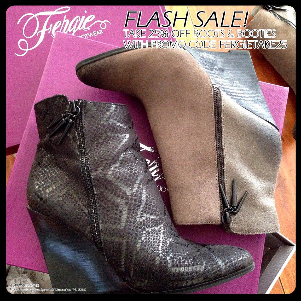 RT @FergieFootwear: #FlashSale!25%OFF #Fergie #boots w/ #promocode FERGIETAKE25 til 6p CT.#greenmonday #bootsale https://t.co/MydKEB7Eyv ht…