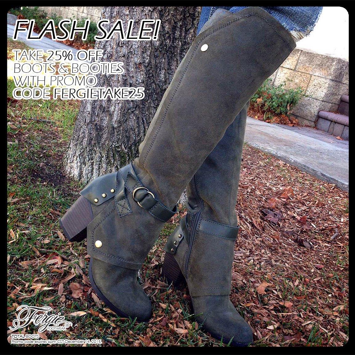 RT @FergieFootwear: #FlashSale!25%OFF #Fergie #boots w/ #promocode FERGIETAKE25 til 6p CT.#greenmonday #bootsale https://t.co/YeQcjMcK6K ht…