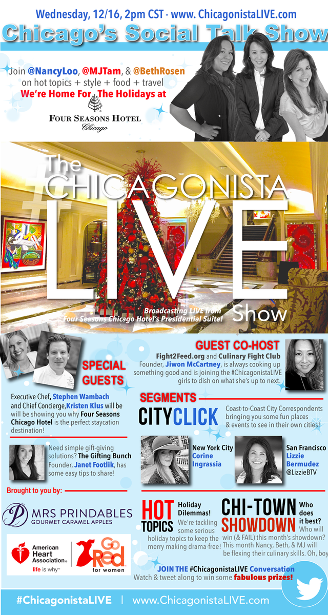 The #ChicagonistaLIVE Show is broadcasting LIVE from @FSChicago #Chicago 12/16 2pmCT w @NancyLoo @MJTam @BethRosen https://t.co/KUtrhDJeIT