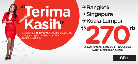270ribu bisa ke berbagai rute favorit dari AirAsia?  Ayo TerbangHemat, pesan segera di