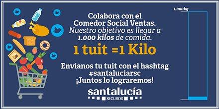Todavía nos quedan más kilos por reunir. Envía tu tuit con #santalucíarsc y ayudemos al Comedor Social Ventas https://t.co/VQ6PjvkyfL