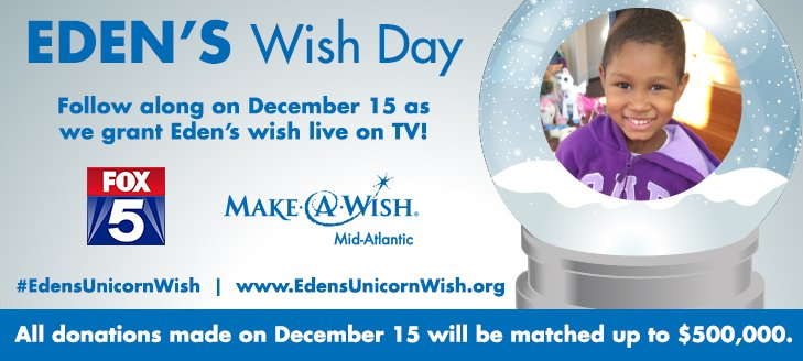 Eden's wish has made it's way to TMZ. Help spread the word! https://t.co/Ypkoaqbr35 #EdensUnicornWish @fox5dc https://t.co/kbsVJiiZ2d