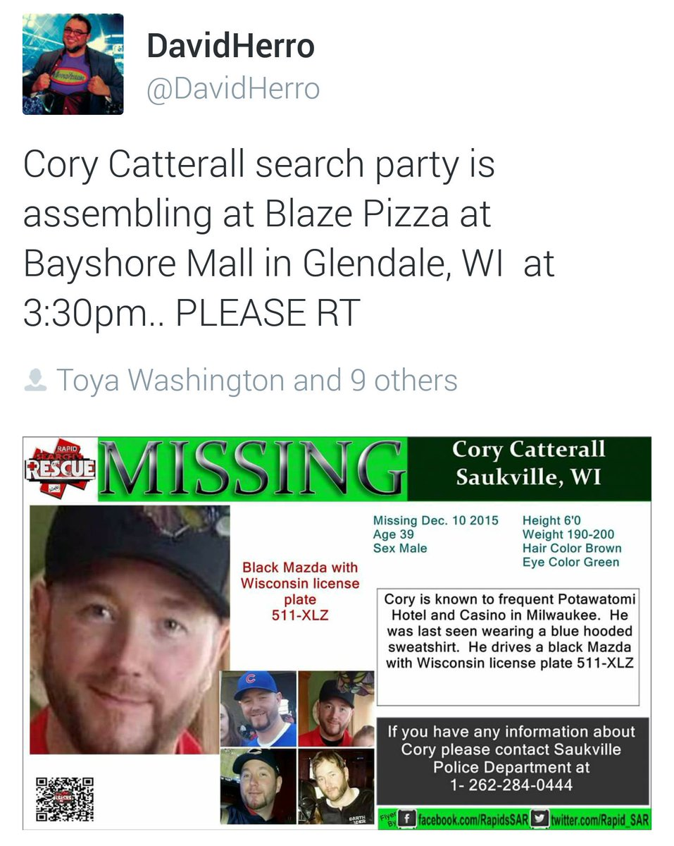 It only takes 1 RT from every1 to tell the world that Cory Catterall is missing in Milwaukee.Please take 5 seconds https://t.co/xTphryK44p