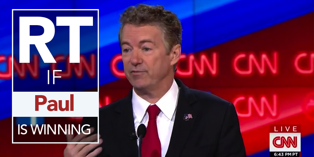 RETWEET if you think @RandPaul is winning the #GOPDebate! https://t.co/u1TzKT6sWm https://t.co/SpPduwdobG
