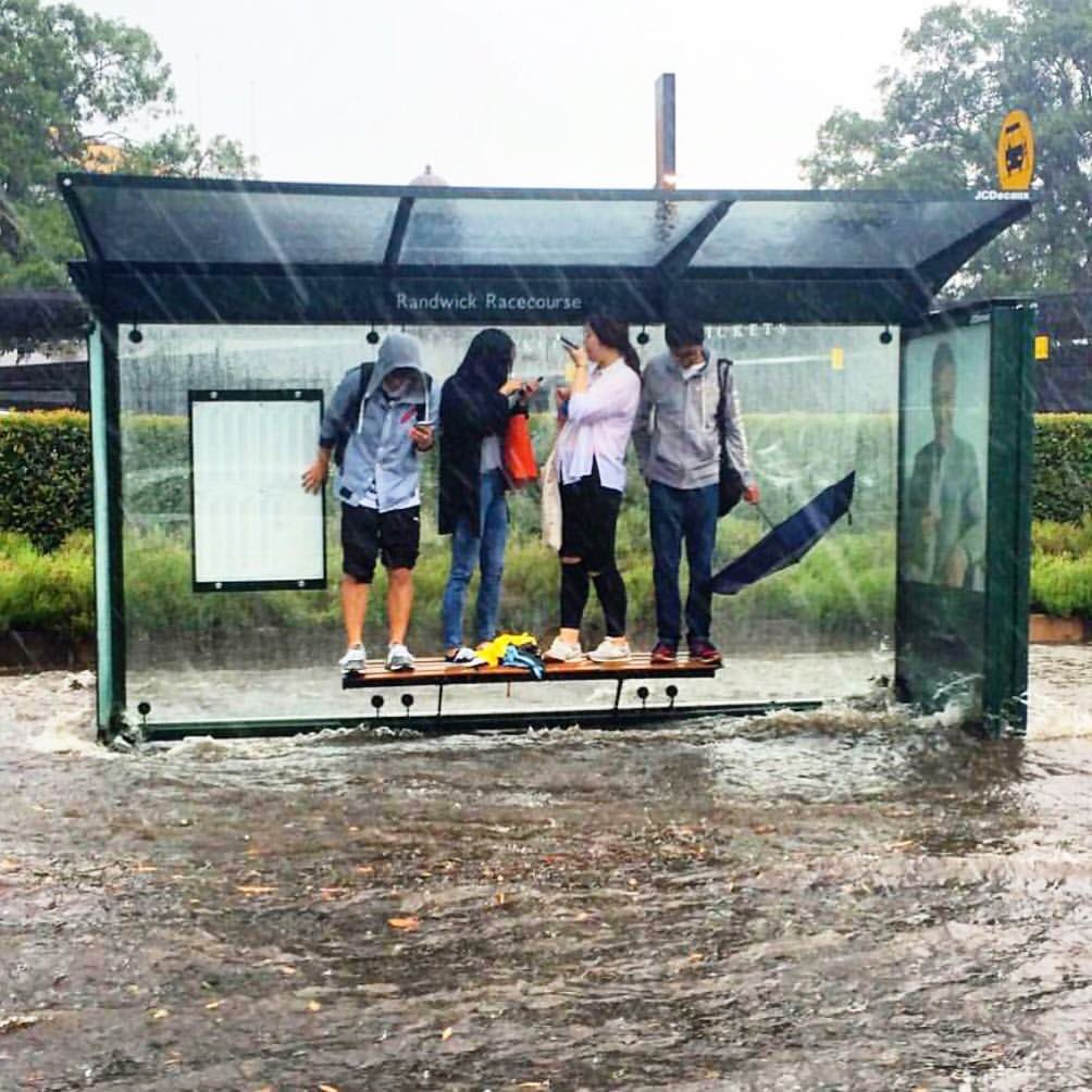 """Wow! """"@9NewsSyd: Sydneysiders taking shelter from the storm under a bus stop in Randwick. #9News https://t.co/Ww9I8VtG9p"""""""