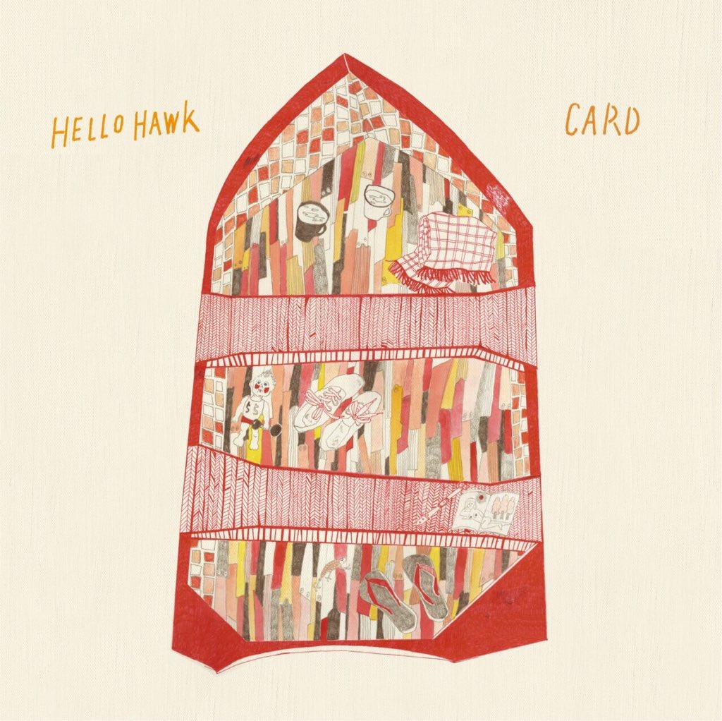 """§新作! Hello Hawk / CARD // split 7""""+CD 1400円 お互いに近いシンパシーを感じ合う、関東関西ギターロック2組のスプリット。新曲と違いの曲をカバーし合ってる素敵内容。 2016年入ってすぐ出す予定 https://t.co/5JZmztGcop"""