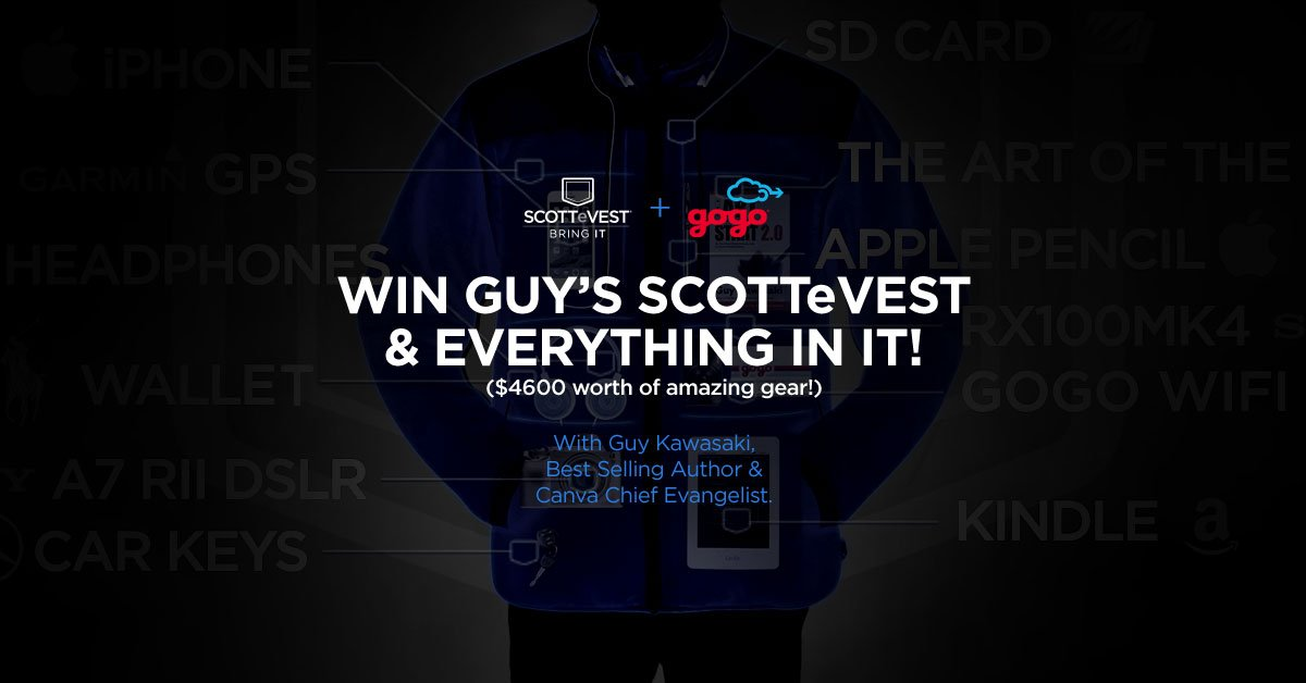Here's your chance to #WIN a $4600 prize package from @scottevest, @Gogo and @GuyKawasaki! https://t.co/UeARxTyGHa https://t.co/LUj6zFtI5C
