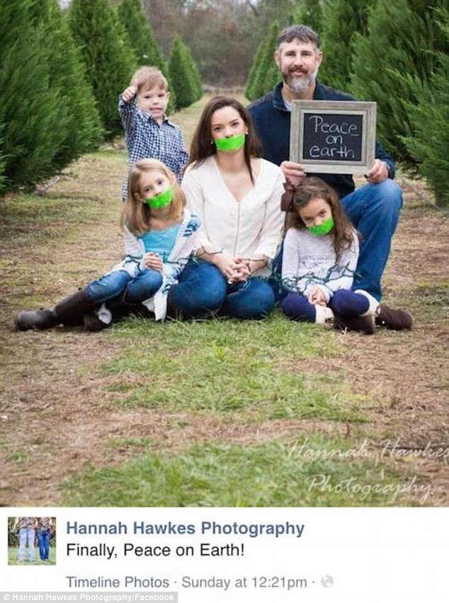 Husband Gags His Wife And Daughters For Family Holiday Card And