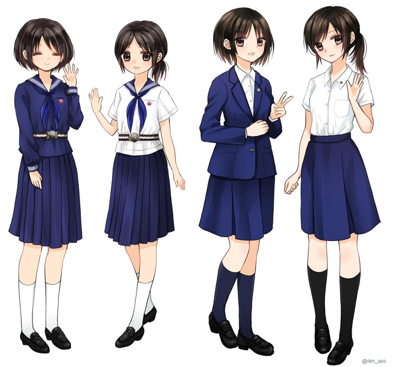 制服イラストです。RTの2点は中学校→高校での成長を意識して、同じキャラクターとして描いてみました! https://t.co/7aioTEc1tk