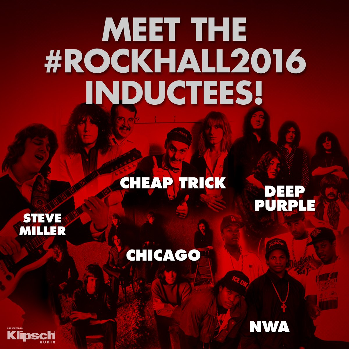 The wait is over! Meet the #RockHall2016 Inductees: @cheaptrick, @chicagotheband, @_DeepPurple, @SMBofficial + #NWA! https://t.co/50Lg8xnpKt
