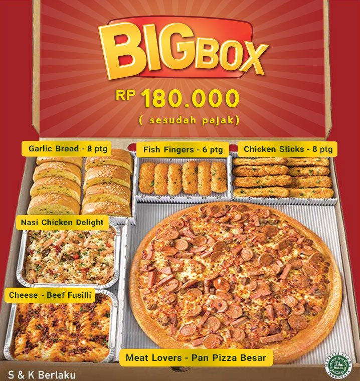 Takeaway Big Box, Rp.180.000 utk 4-5 org dari restoran Pizza Hut. SKB. https://t.co/ulJMwmAXLn