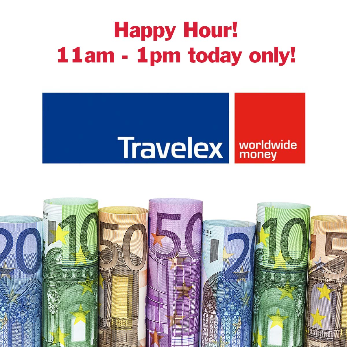 Today only! Between 11am and 1pm! Happy hour online @TravelexUK. Order any currency now: