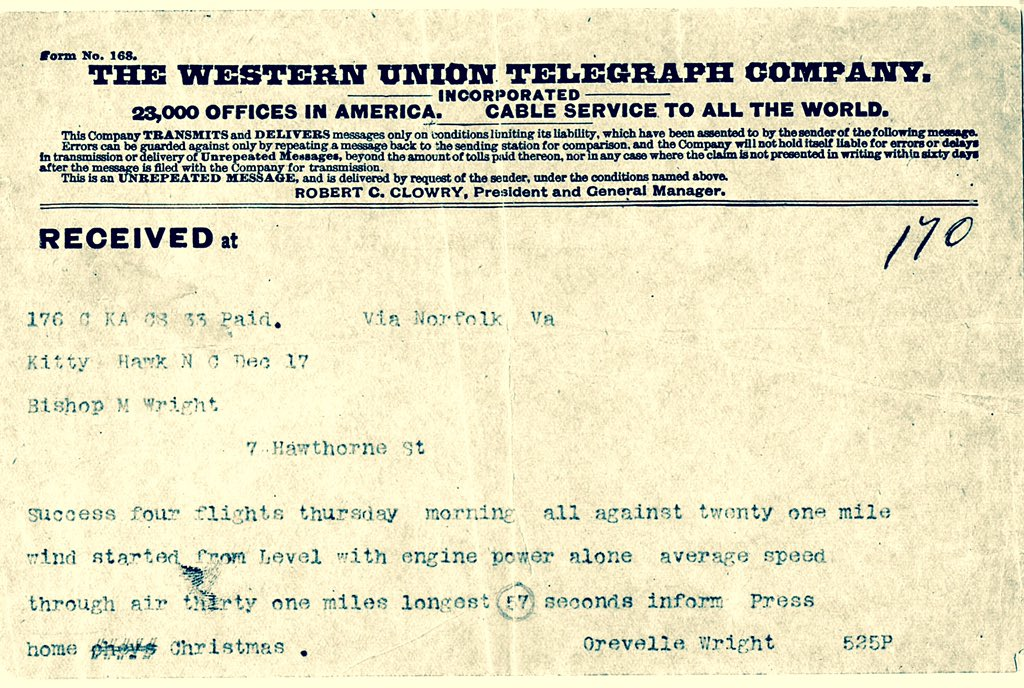 First flights: Orville Wright's world-changing telegram to his dad - sent 112 years ago today. https://t.co/5Qjd1KJ0iq