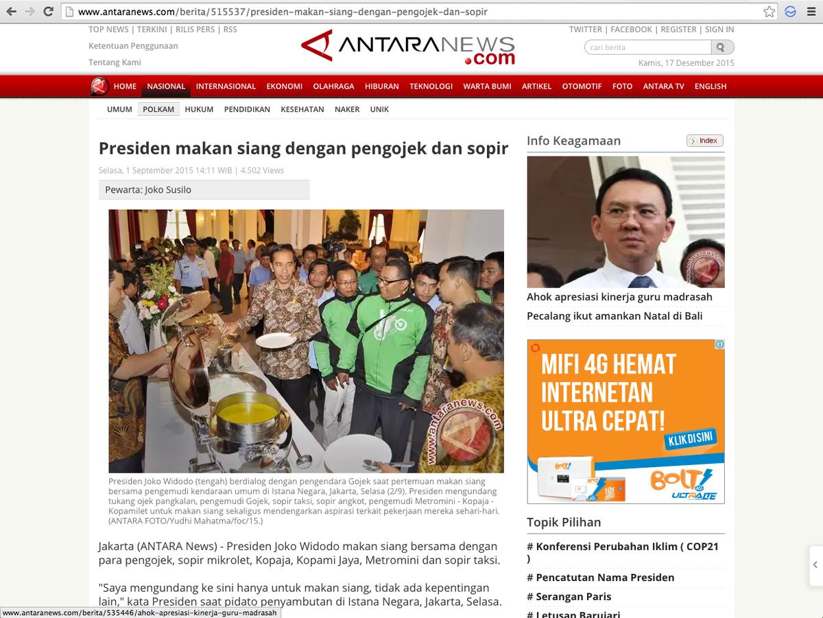 Sept: rider Gojek makan bareng Presiden Okt: Kemenkominfo ajak Gojek ke Amerika Des: Kemenhub larang ojek daring https://t.co/xGFRo3Ul6H