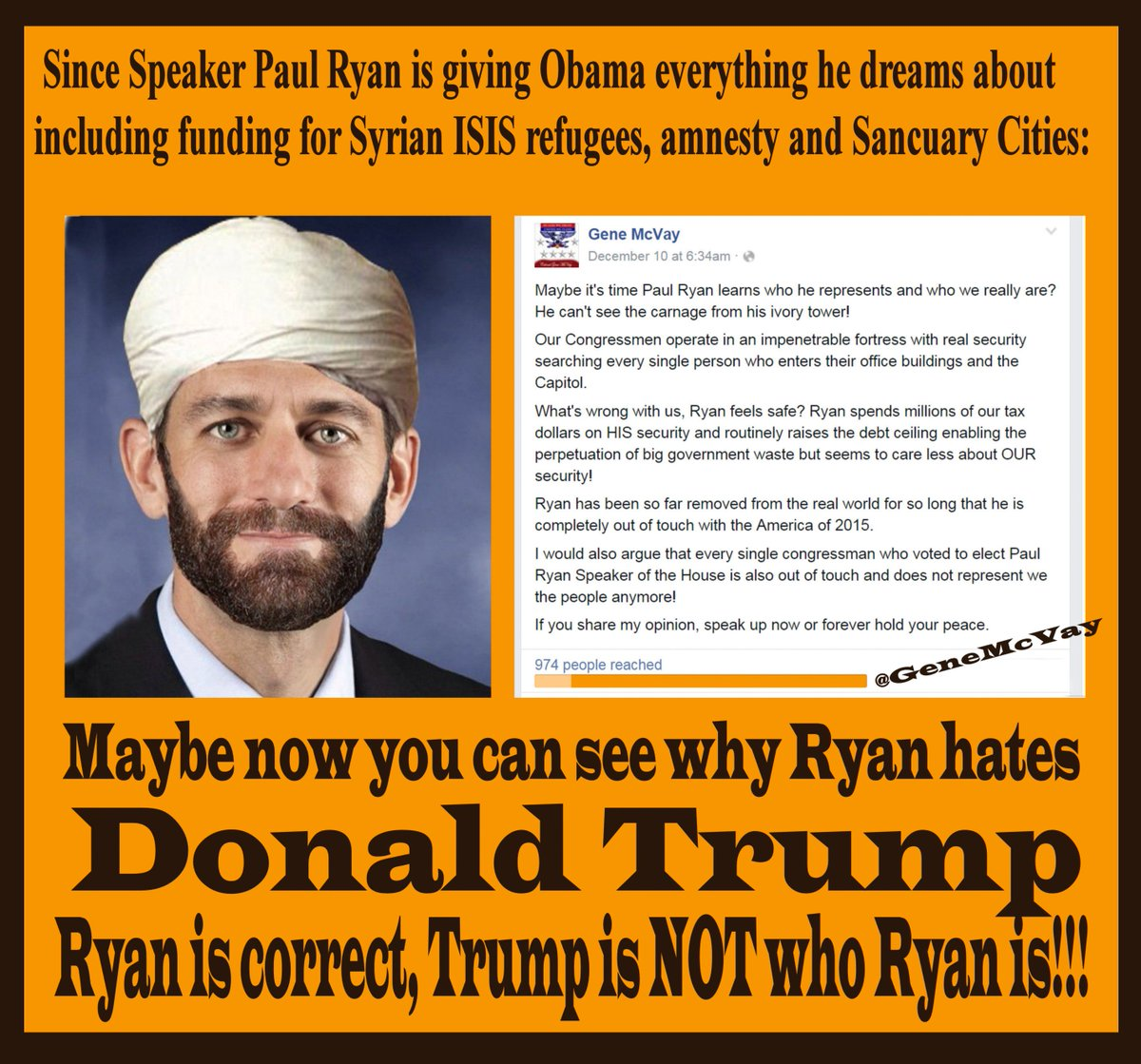 @realDonaldTrump If you are not happy that @SpeakerRyan & Pelosi gave Obama a blank check for Syrian refugees, RT. https://t.co/ZqYwRa4gtX