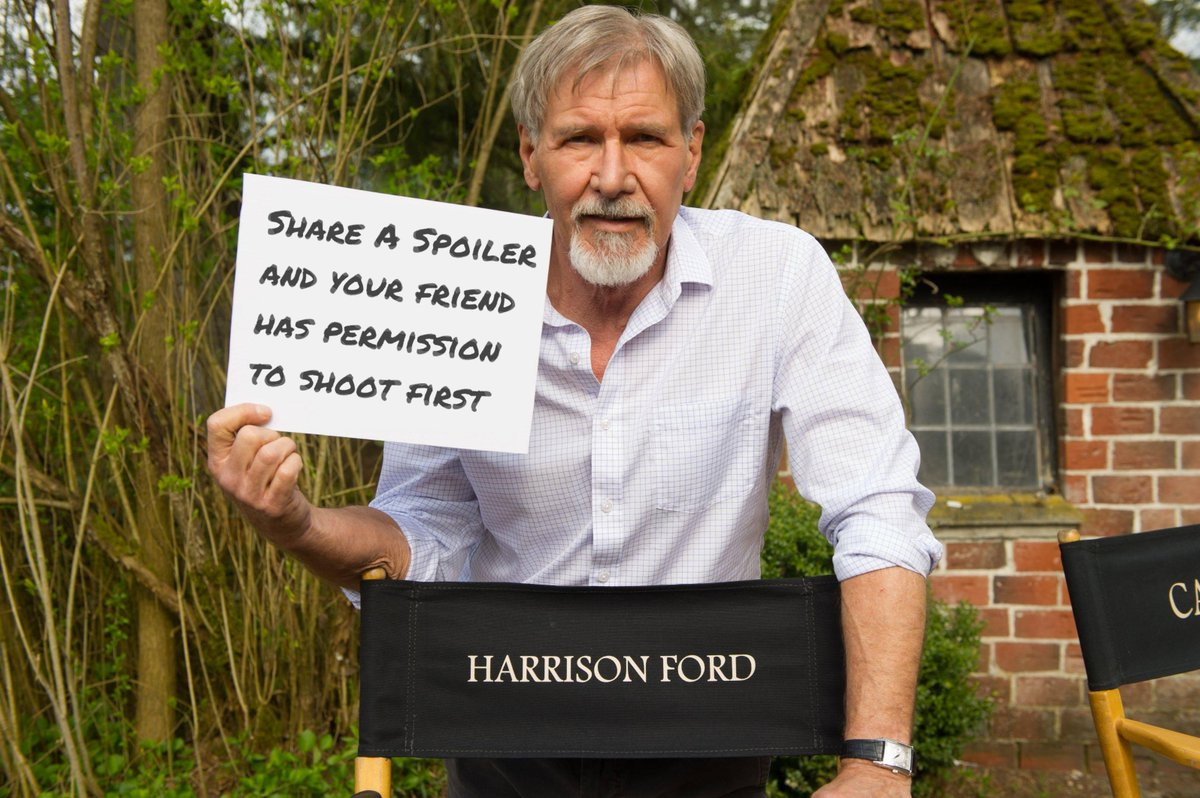 I'm serious about this #StarWars spoiler stuff. Those who share spoilers will be punished #HanSolo style! https://t.co/cczewvqCpN