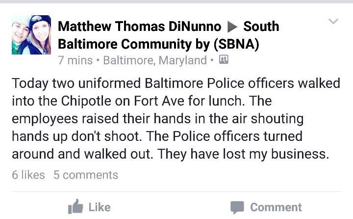 Im curious as to why a BPD officer would spread lies about an incident at Chipotle that never happened. https://t.co/QMhLqFh7Cv
