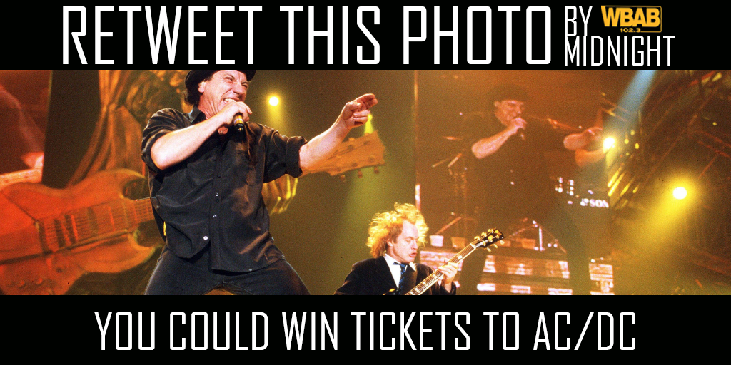 Retweet by Midnight & you could win tickets to see @ACDC @TheGarden April 4th. One random winner @JoeRockWBAB https://t.co/Eq0qIOq8Mr