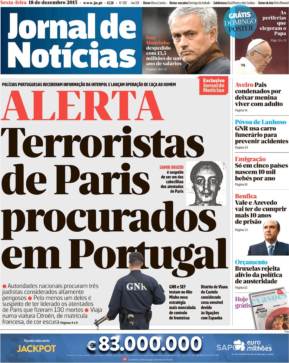 Alerta: terroristas de Paris procurados em Portugal  Todas as capas em https://t.co/QyhPJY0HXm. https://t.co/yCCZ5x1Eo4