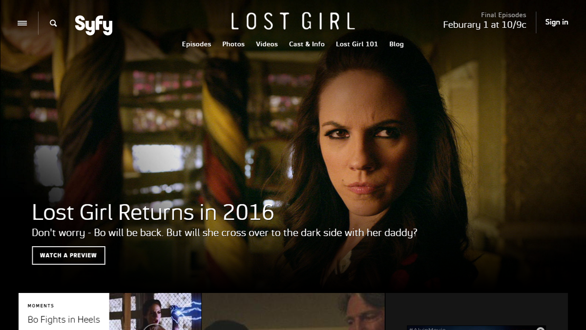 Attn US #LostGirl fans. The final eps beginning airing on @Syfy on Feb 1st at 10pm. @lostgirlseries https://t.co/7H8YxuJvOz