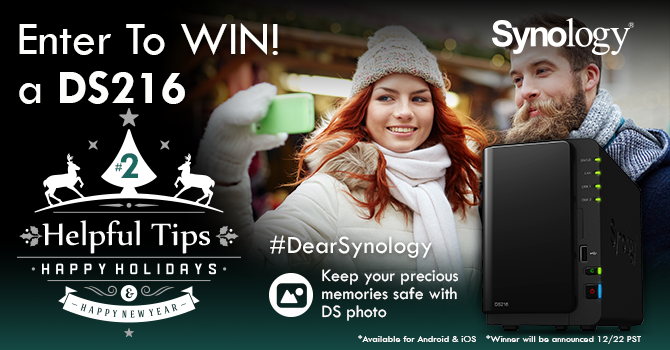 Tip # 2 – Instantly upload photos from your mobile to Synology w/ DS Photo. RT for a chance to WIN! #DearSynology https://t.co/a2nXTX1B24