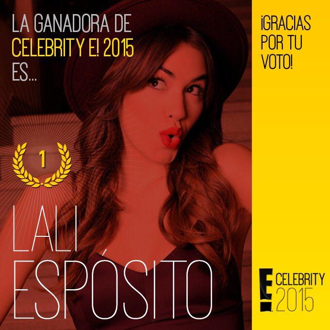 Felicidades @laliespos ¡Eres la #CelebrityE! 2015! https://t.co/oE2GtXru8o