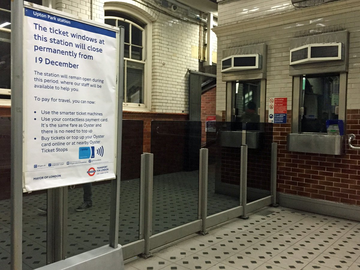 TfL's last ticket office closed this evening. This is Upton Park just after the shutters went down. https://t.co/2hILfa5Jk0