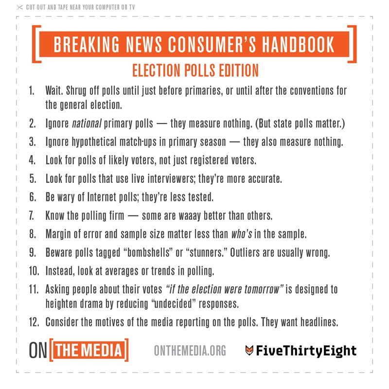 The 538+OTM collaboration continues, with a Breaking News Consumer's Handbook on polling https://t.co/gCWecXvjTK https://t.co/Tv9IU6k6Zc