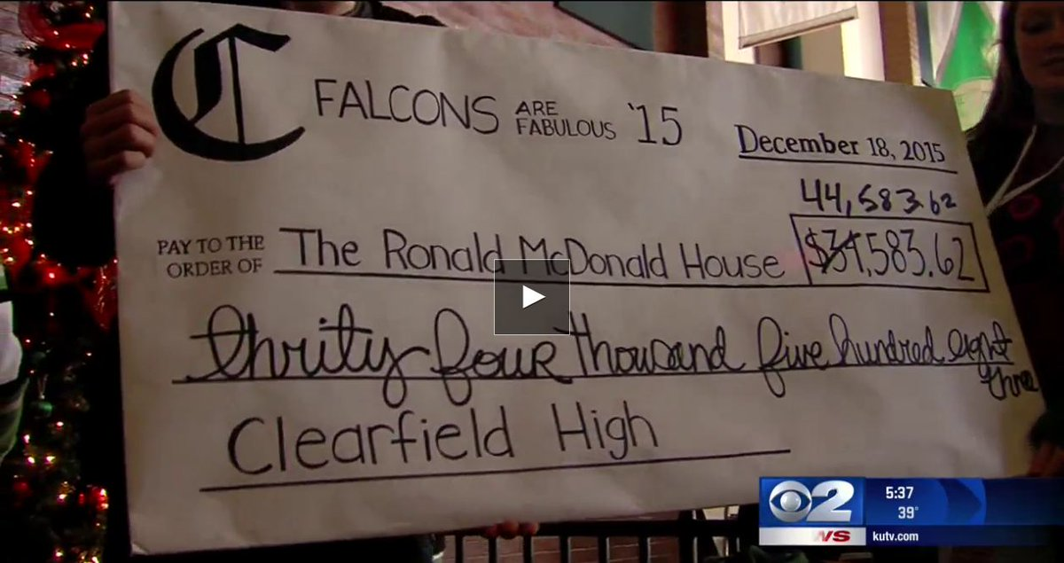 #Clearfield High School donates $44,000 to Ronald McDonald House https://t.co/PCZmtvGqu4 https://t.co/XeAtbOarRN