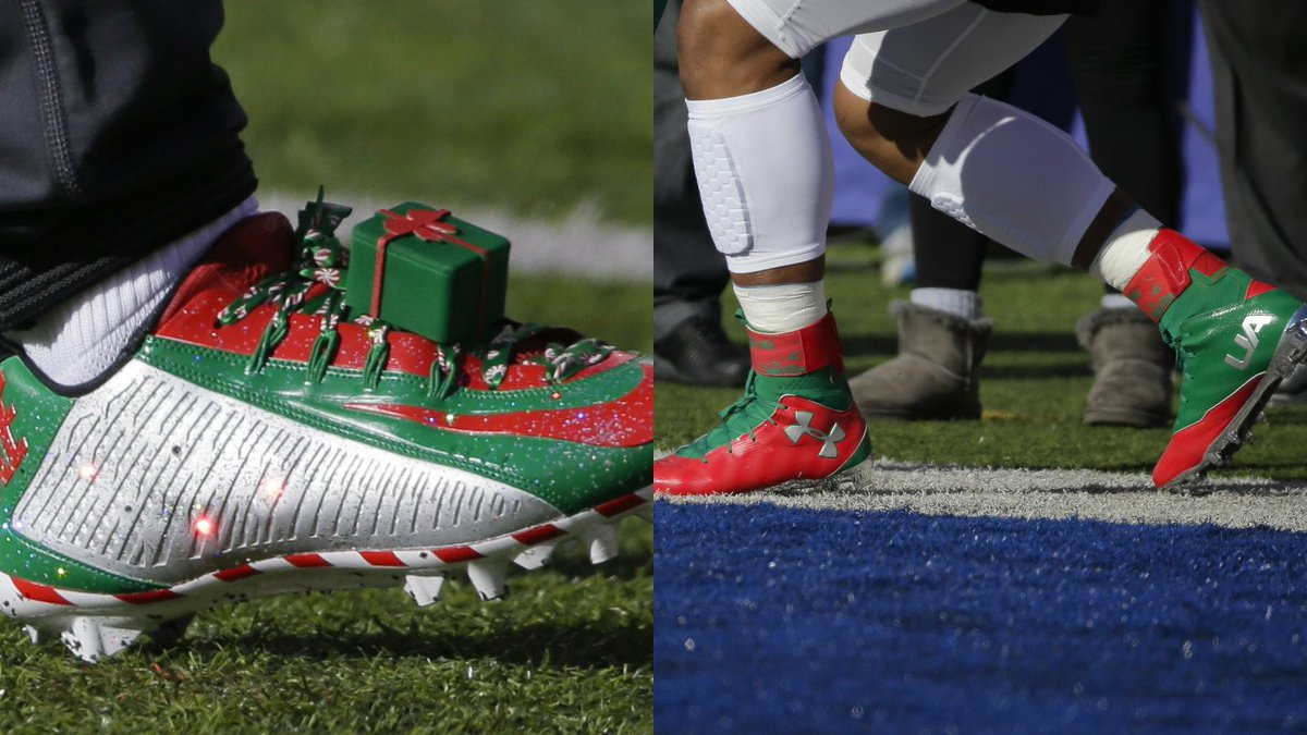 Who has the better christmas cleats today? odell beckham jr. (left ...