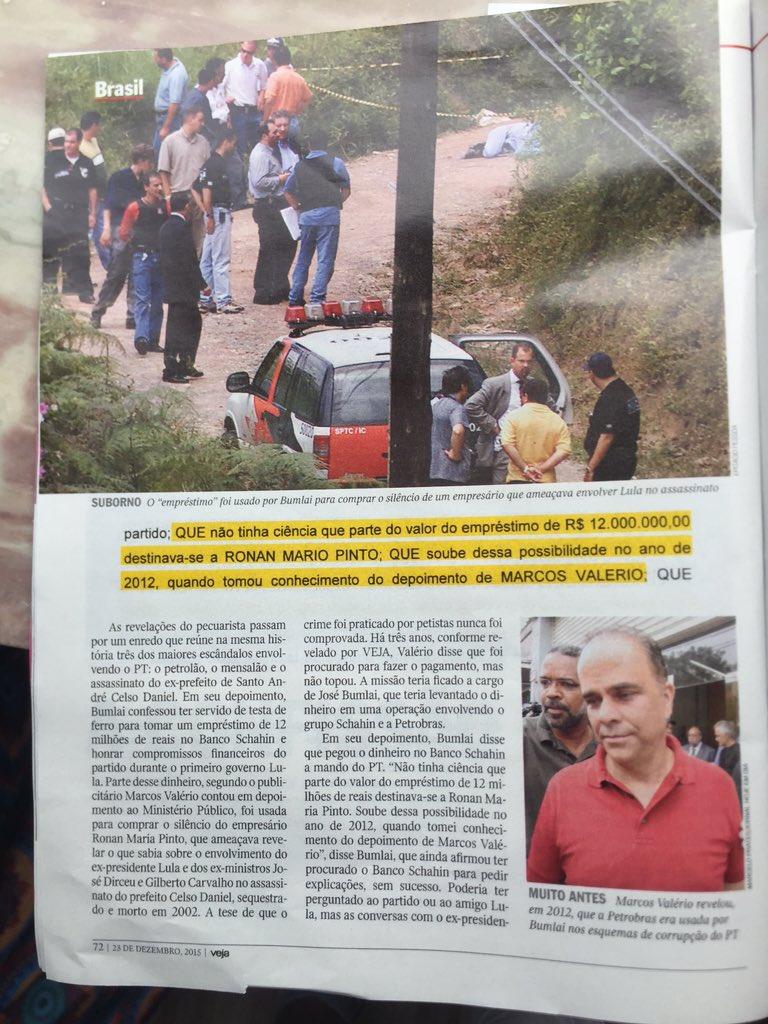 Vejam na @VEJA de hoje : foto de @tumaoficial ao achar o cadáver de Celso Daniel https://t.co/r73huYXdqg