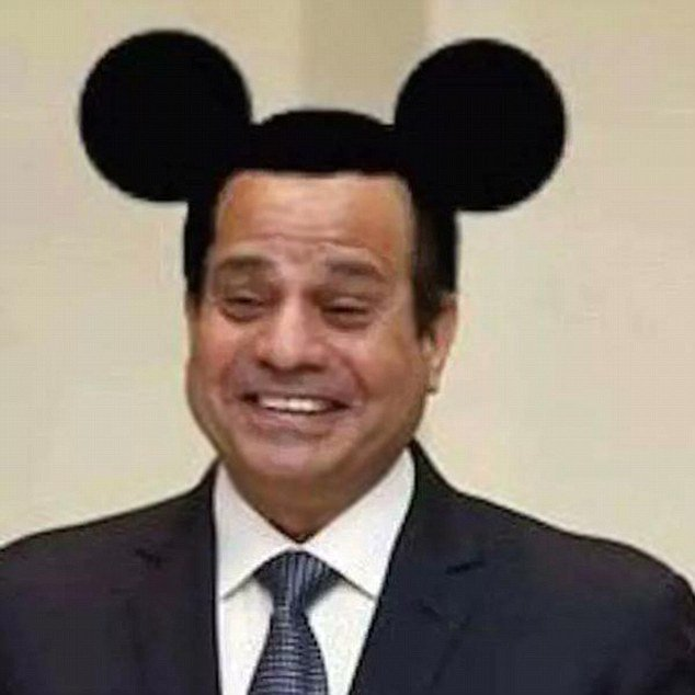 Egypt gives student 3 years for this Facebook post of Sisi with Mickey Mouse ears. So RT it. https://t.co/Th0x6SxZ8B