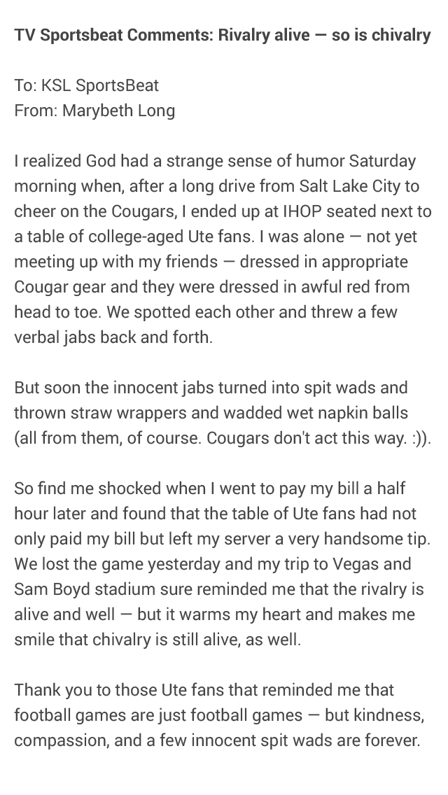 Nice story sent in from a BYU fan about an encounter with some Utah fans in an IHOP before the game. https://t.co/fAwME7szkd