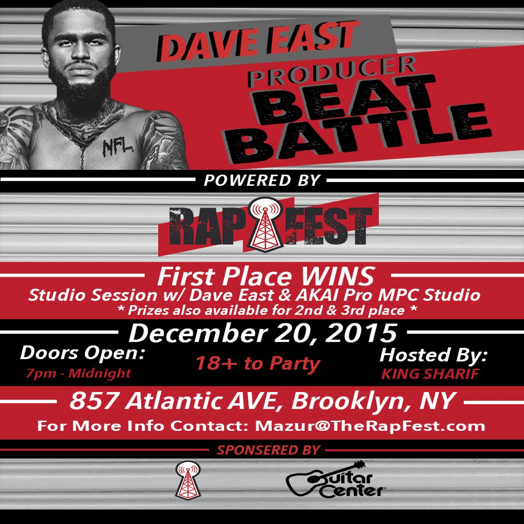 Today! @DaveEast Beat Battle powered by @TheRapFest! Hosted by #Hot97 #TheLeanBrothers Own @KingSharifOnAir! Lean! https://t.co/PD6Iw8JboC