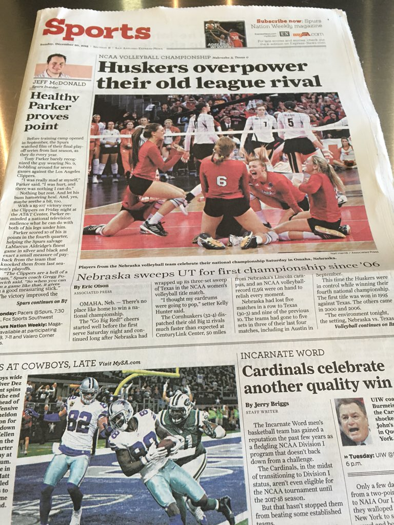 Hey, @Huskervball. Check out the front page of the @mySA (San Antonio, TX) sports page.