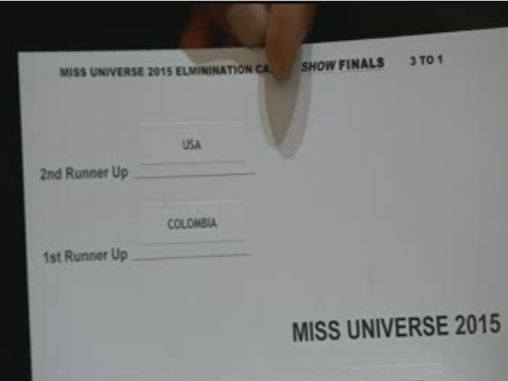LOOK: The card containing the actual results of #MissUniverse2015 pageant https://t.co/MN53GIJXJA