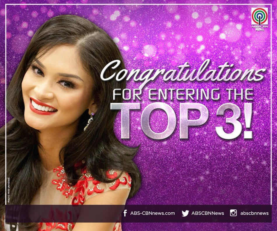 JUST IN: @PiaWurtzbach makes it to the Top 3! #MissUniverse2015 https://t.co/sKMPqvQcc4