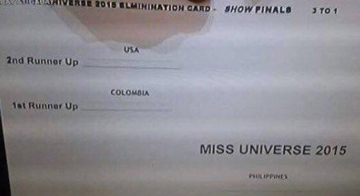 Circula en redes la tarjeta informativa que se le entregó al moderador de #MissUniverse2015 con los resultados! https://t.co/8tO3X28W2m