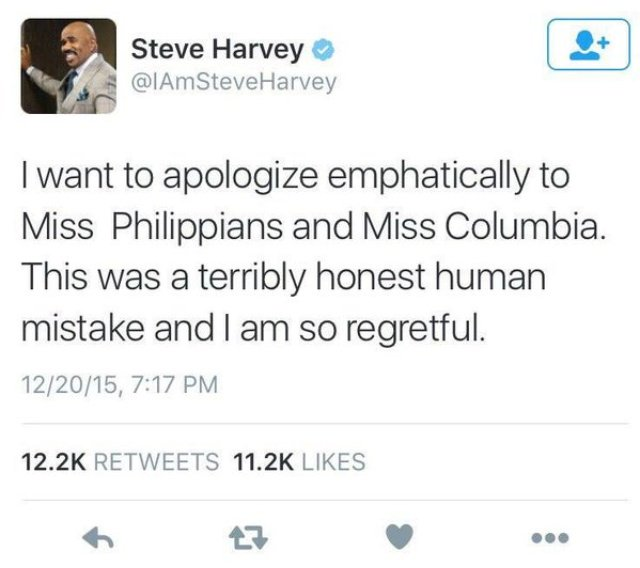 You know it's a bad night when you even screw up the apology. #SteveHarvey #MissUniverse2015 https://t.co/6eNANzEb8g