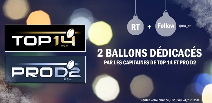 ► RT ce message + Follow @lnr_fr pour tenter de gagner 2 ballons dédicacés par les capitaines de #TOP14 et #PROD2 ! https://t.co/Nc4rFdcXS4