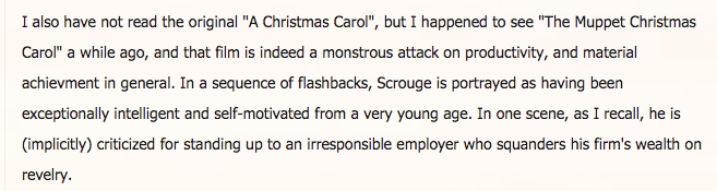 """I also have not read it"" Ayn Rand fans discuss A Christmas Carol.  c/o @biblioklept https://t.co/mf3irbxktH https://t.co/MxVKDA2kFL"